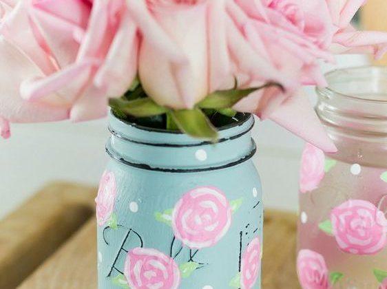 Rose Painted Mason Jars