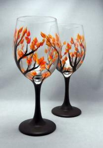 Fall Leave Wine Glass