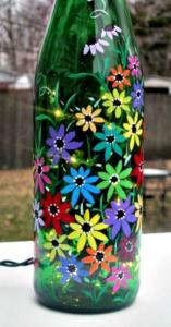 Wine Bottle Spring Flowers